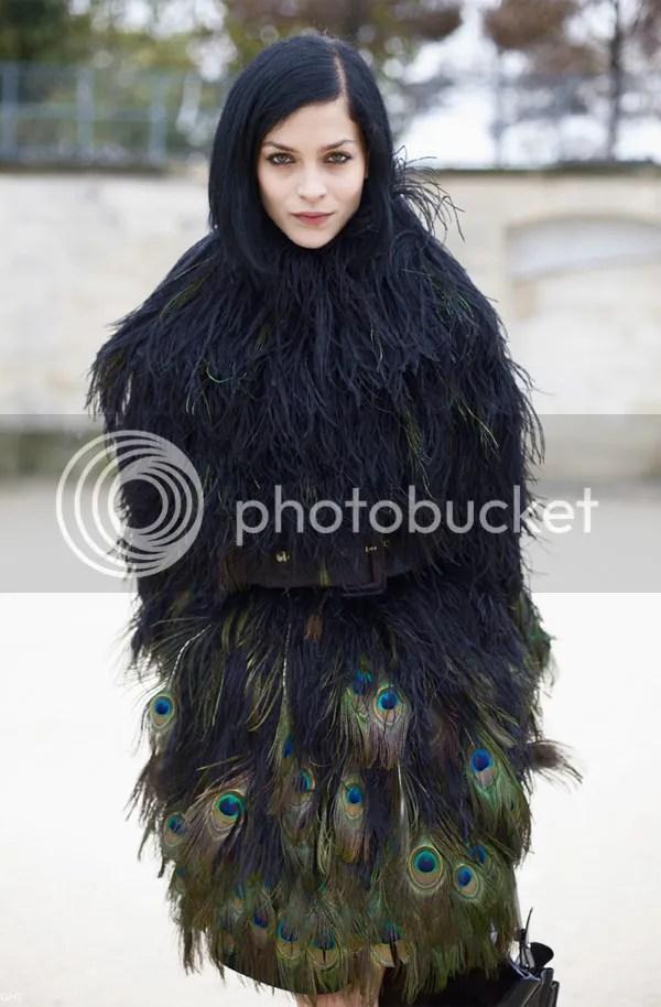 Leigh Lezark wearing Giambattista Valli feather dress