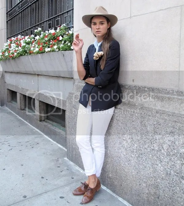Female Dandy trend on the street