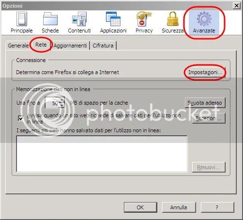 Configurazione di Firefox per un proxy 1
