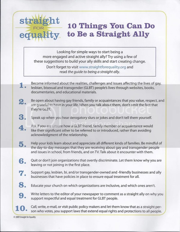 the gay agenda straight allies instructional literature how to explanatory pamphlets
