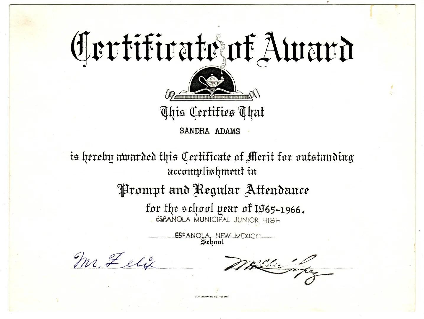 Sandra Dodd Compulsion, and attendance - free printable perfect attendance certificate template
