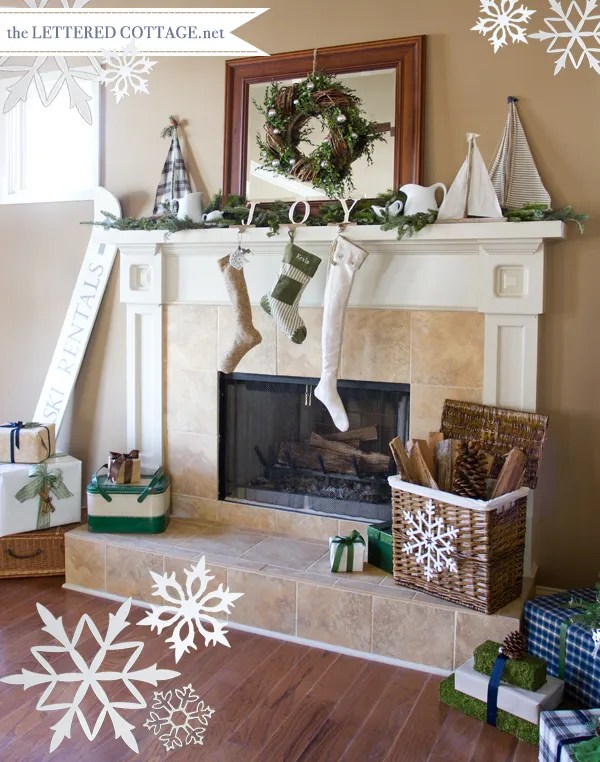 Christmas Mantel Decorating Ideas - Link Party The Lettered Cottage - christmas mantel decor