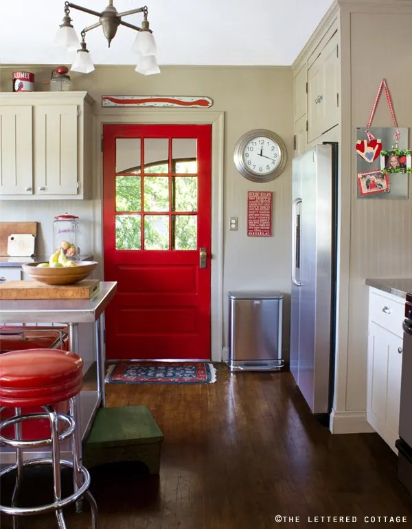 Bold red interior door