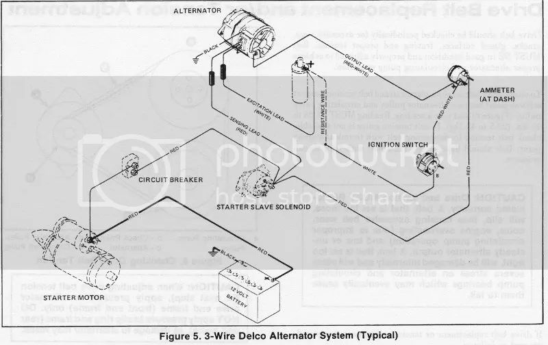 3 wire alternator wiring diagram and resistor