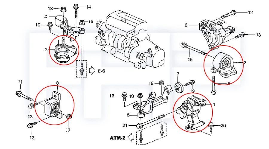 1997 honda civic engine mounts diagram