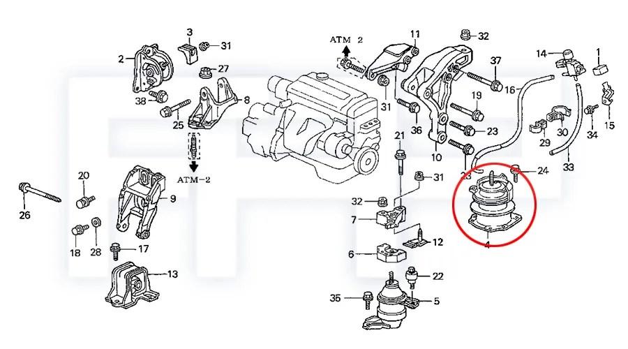 ROCA Accord 98-02 4cyl 23L F23A CG5 CG3 AT Engine Motor Rear Mount