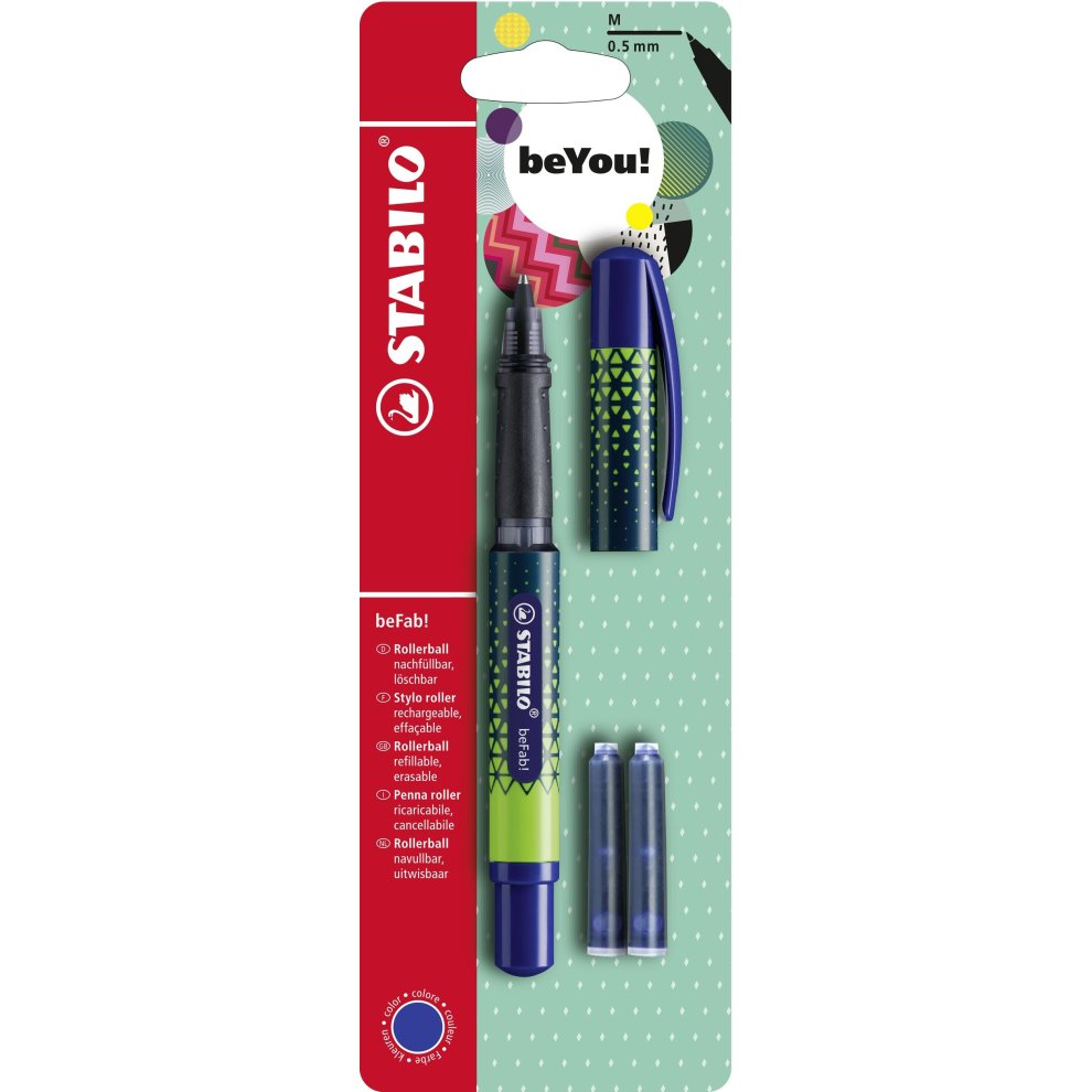Stabilo Pointball Stabilo Befab Urban Sportive Rollerball Pen With 3 Blue Ink Cartridges Midnight Blue