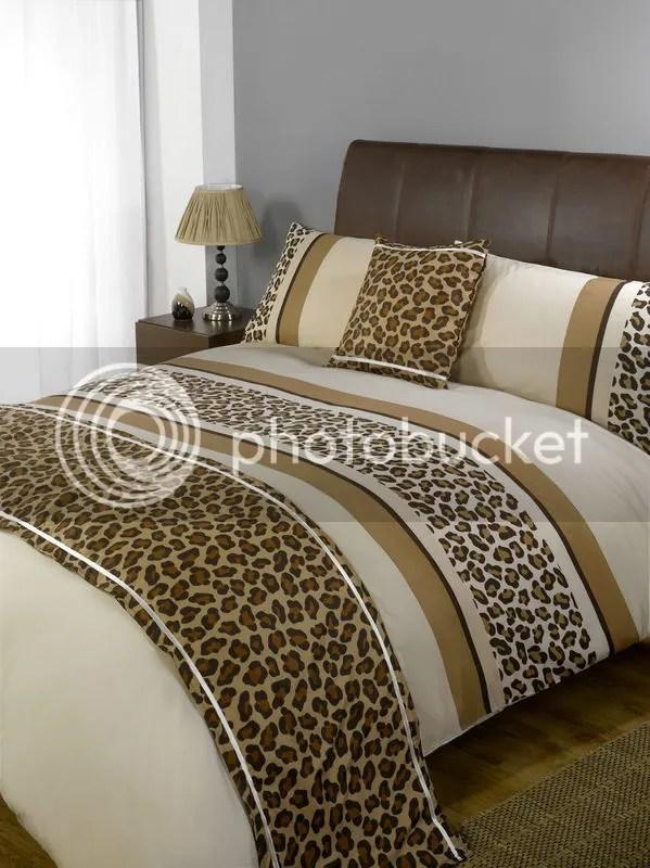5pc Leopard Print Design Duvet Cover Set Cushion Bed