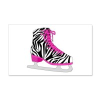 Zebra Pink and Black Ice Skate Wall Decal by cutetoboot