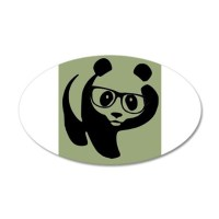 Hipster Panda Wearing Trendy Eyeglasses Wall Decal by ...