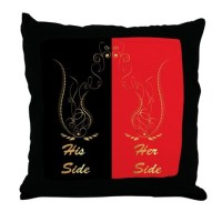 His and her side Throw Pillow by dreamworld7