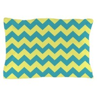 Teal and Yellow Chevron Pillow Case by chevroncitystripes