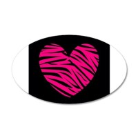 Hot Pink and Black Zebra Heart Wall Decal by Testingtesttess