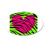 Hot Pink Green Zebra Striped Heart Wall Decal by RAS7