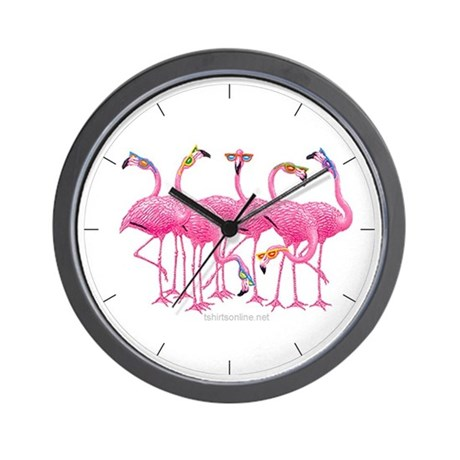 Cool Flamingoes Wall Clock By Angelstormstudios