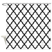 Black & White Moroccan Pattern (Inv Shower Curtain by