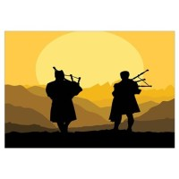 Scottish bagpipe sunset Wall Decal