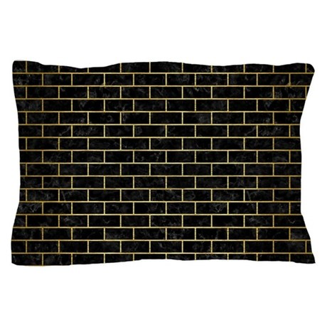 Brick1 Black Marble Gold Brushed Met Pillow Case By