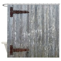 Rustic Barn Door With Metal Hinges Shower Curtain by ...