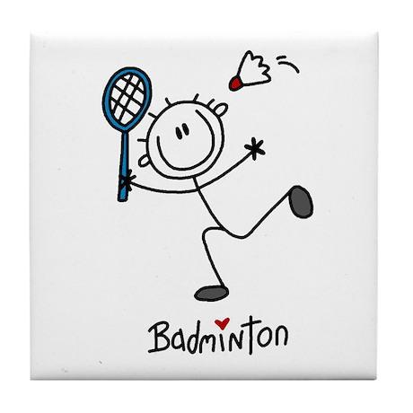 Stick Figure Badminton Tile Coaster By My Stick Figure