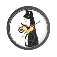 Whimsical Cat Wall Clock by EveStock