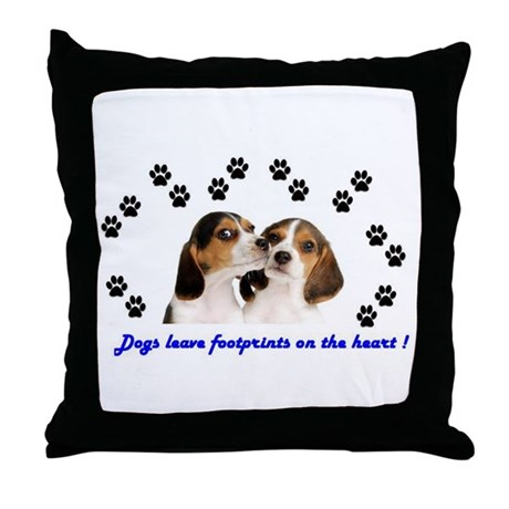 Dogs Leave Footprints On The Heart Throw Pillow By