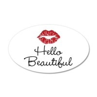 Hello Beautiful Red Lips Wall Decal by BeachBumming