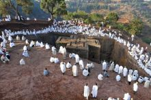 Feast time: Pilgrims at the Church of St George, Lalibela