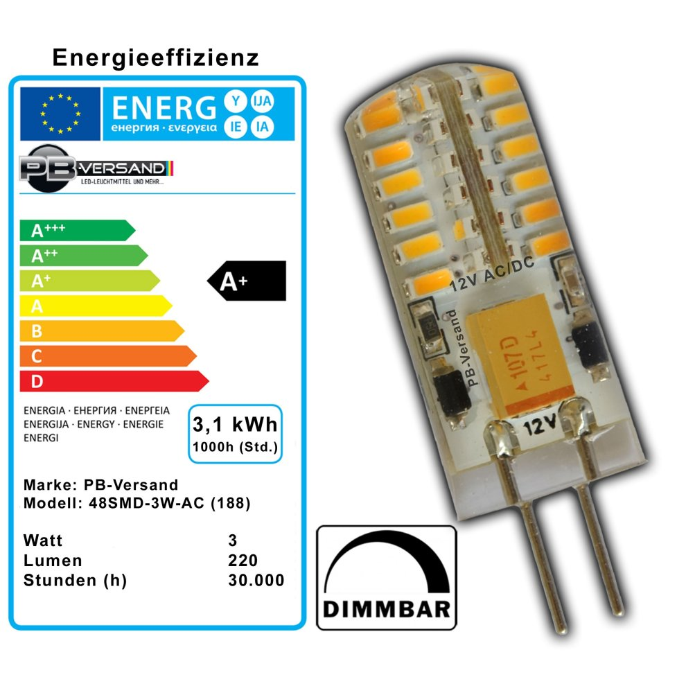 G4 Led Dimmbar 3x G4 Led 3 Watt Warm White Dimmable 12 V Ac Dc 3 Pieces Ac Voltage At 48 X 3014 Smds Epistar 15 W 330 Â Pin Base