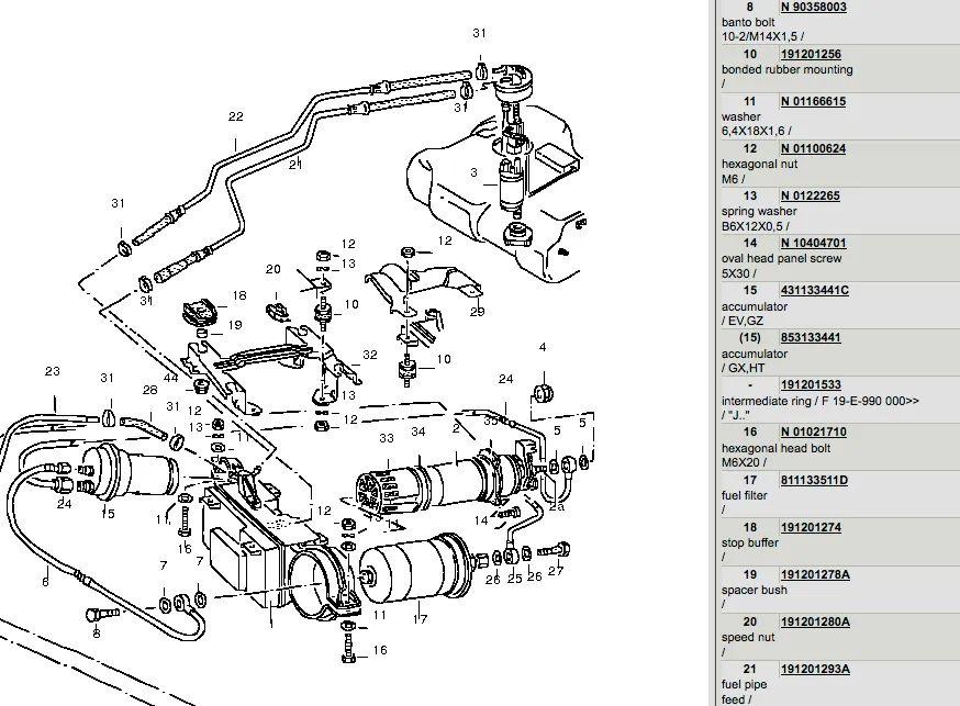 vw cabrio fuel filter location