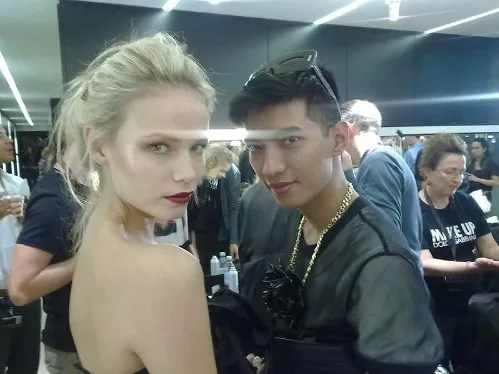 Natasha Poly and Bryanboy backstage at Dolce & Gabbana spring/summer 2010