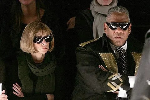 photo of anna wintour and andre leon talley