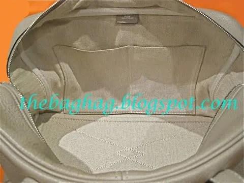 Hermès Gris Tourterelle Victoria bag interior