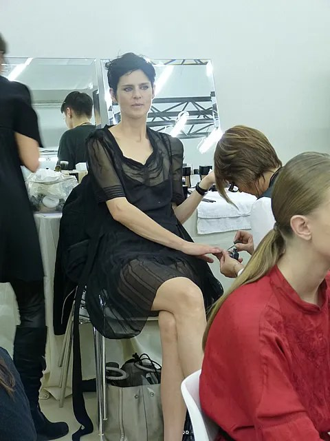 Stella Tennant backstage at Chanel spring summer 2011