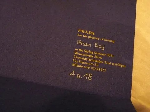 Prada Spring Summer 2011 Show Invitation Womens