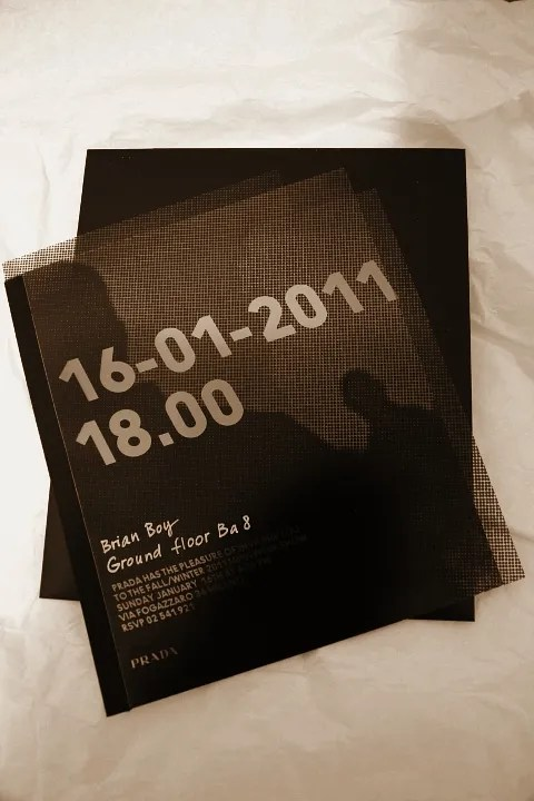 Prada Fall Winter 2011 Menswear Invitation