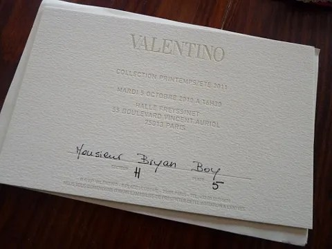 Valentino Spring Summer 2011 Show Invitation