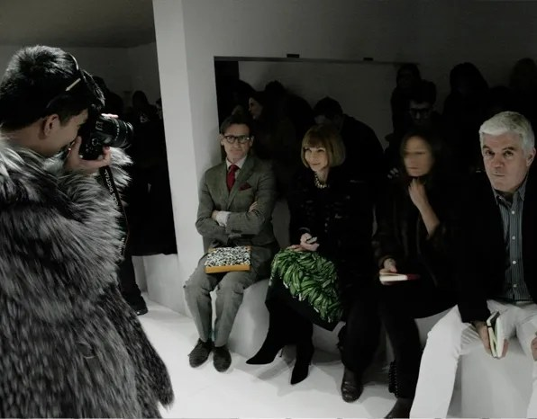 Hamish Bowles, Anna Wintour, Tim Blanks and Bryanboy at Prada front-row, fall winter 2011 fashion show.