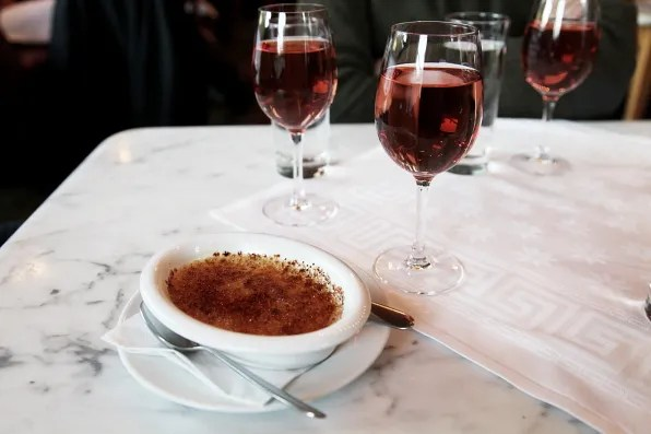 Rose and creme brulee at Cafe Opera