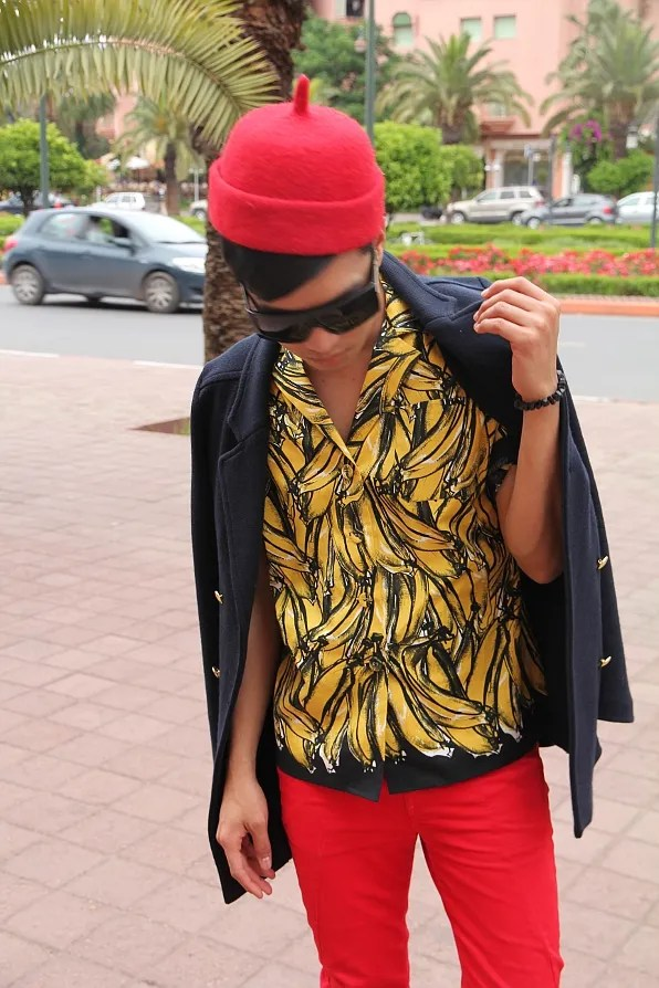 Prada banana print button-down shirt worn by Bryanboy in Marrakesh