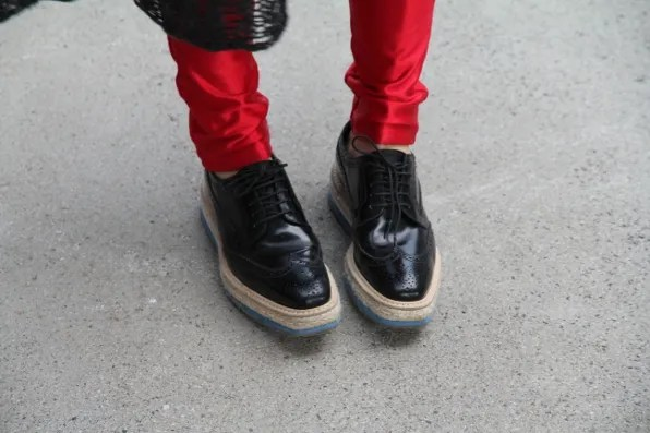 Black Prada Flatforms spotted at Formula One Shanghai