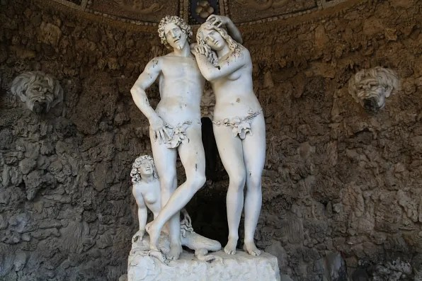 Annalena Grotto; Adam and Eve by Michelangelo Noccherini at Boboli Gardens, Florence