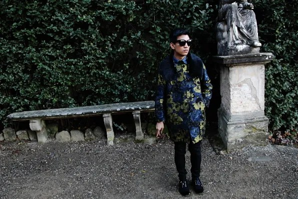 Bryanboy wearing a coat by Antonio Marras