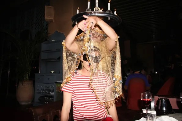 Belly dancer at Jad Mahal, Marrakech Morocco dancing with Bryanboy