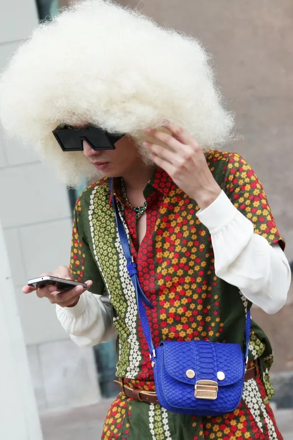 Blond afro wig worn by Bryanboy