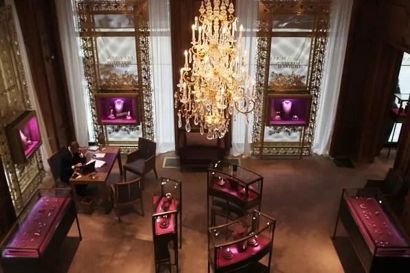 Inside the Boucheron boutique at Place Vendome, Paris