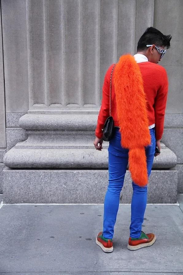 Bryanboy outside Calvin Klein wearing Prada