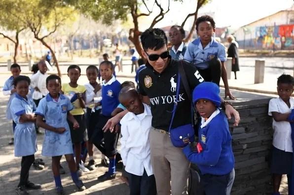 Bryanboy with South African school boy