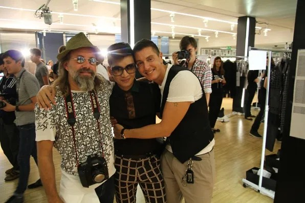 Sonny Vandevelde, Bryanboy and Stefano Gabbana backstage at Dolce & Gabbana spring summer 2012 menswear show