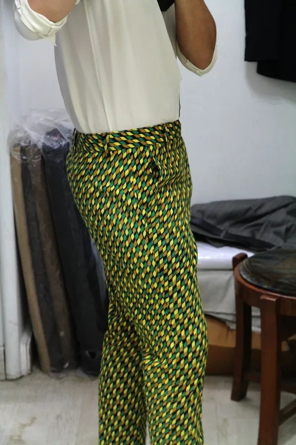 Side view of Bryanboy's tailored trousers
